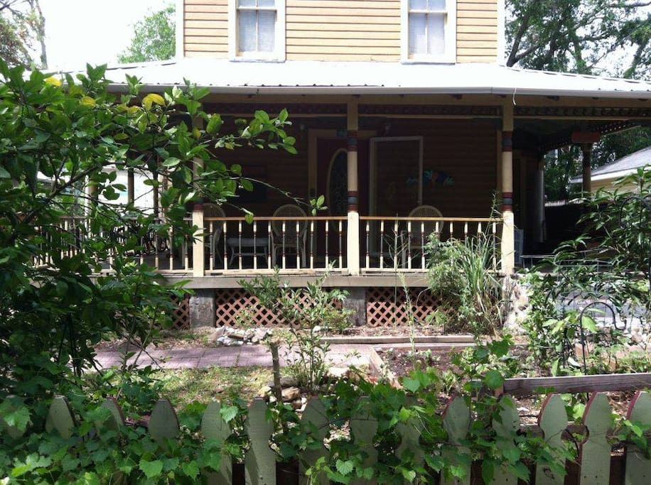 view of front porch and edible  yard