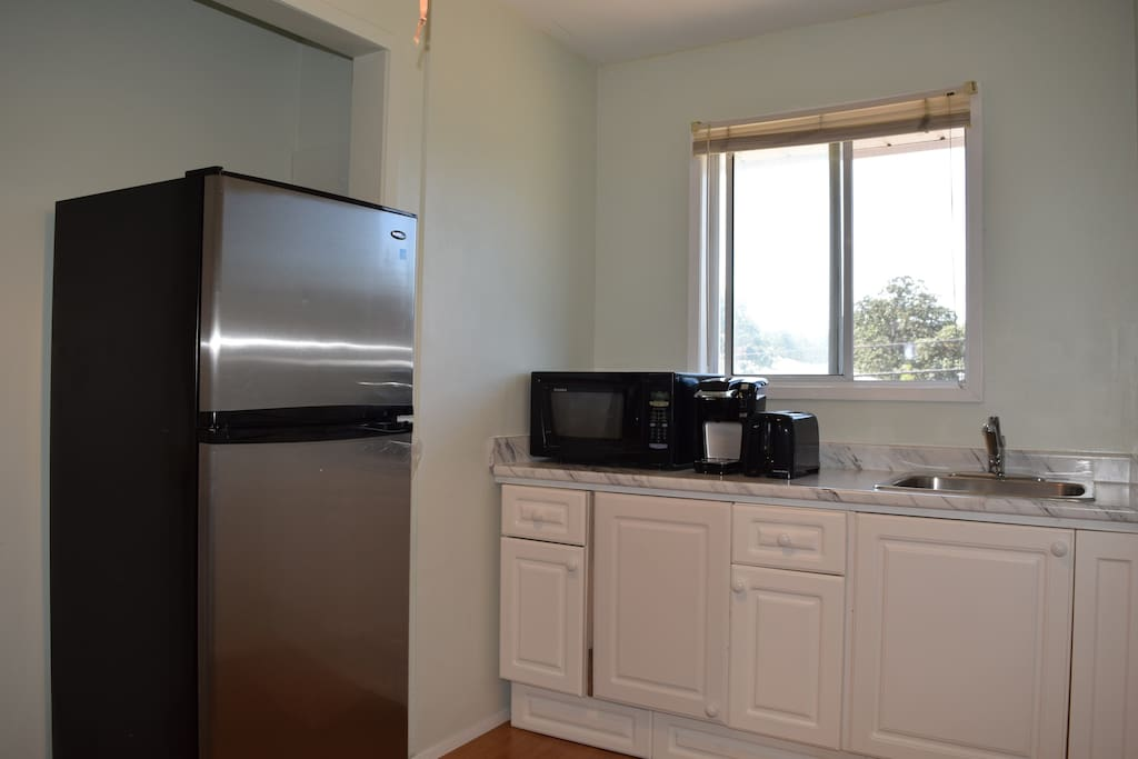 Kitchen in the second floor for airbnb guests. Includes a refrigerator, sink, induction cook top, microwave, coffee maker, toaster, dishes and utensils.
