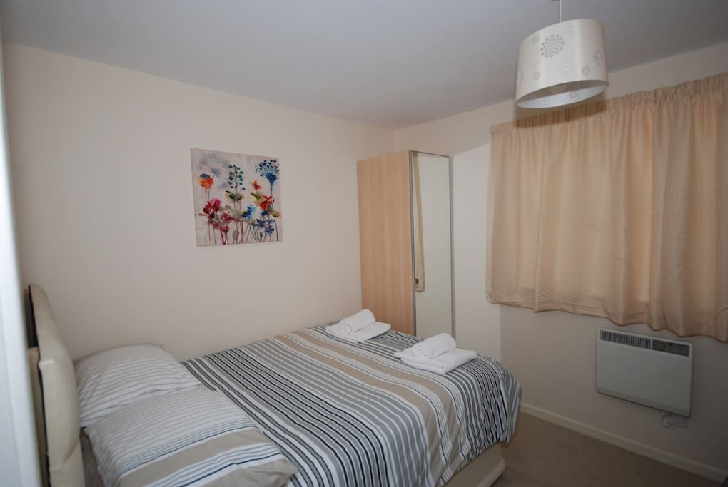 Bedroom 2 has a double bed, and also a set of 3' adult bunk beds.