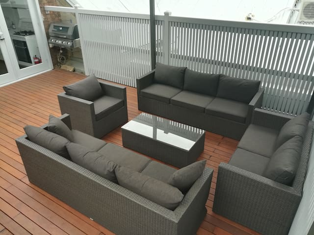 Roof deck and one of two barbecue areas