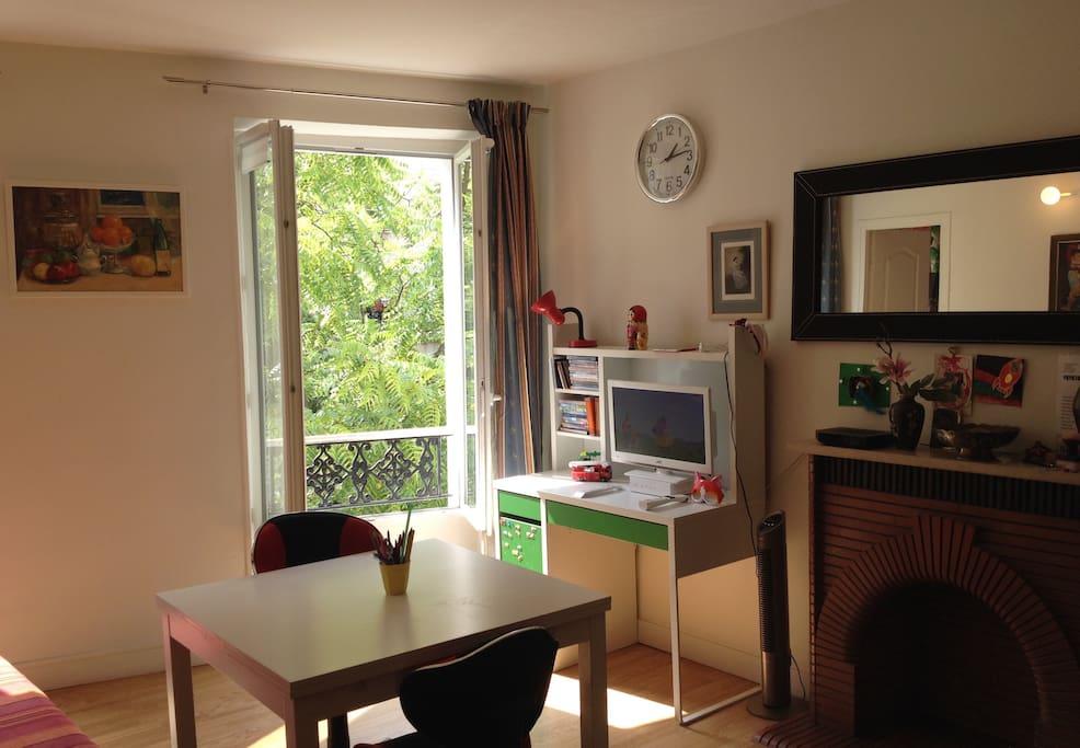 Другой ракурс студии: телевизор с DVD, интернет, стол для работы на ноутбуке.
