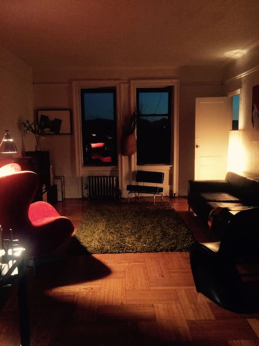 Our cozy living room by night.