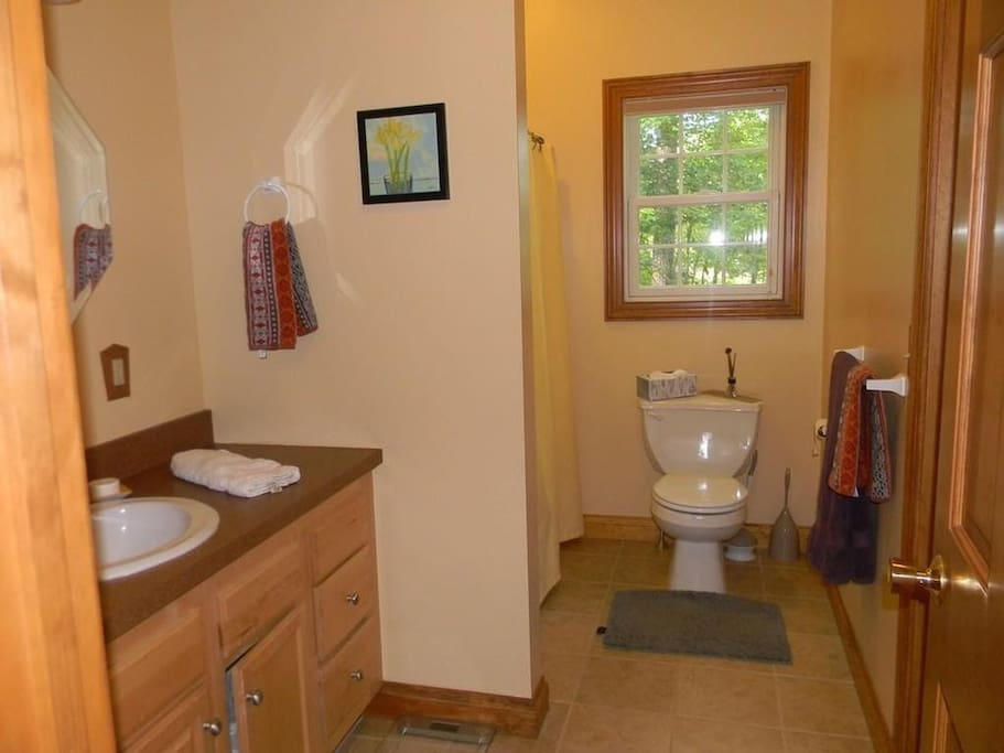 Guest bath with washer/dryer facilities