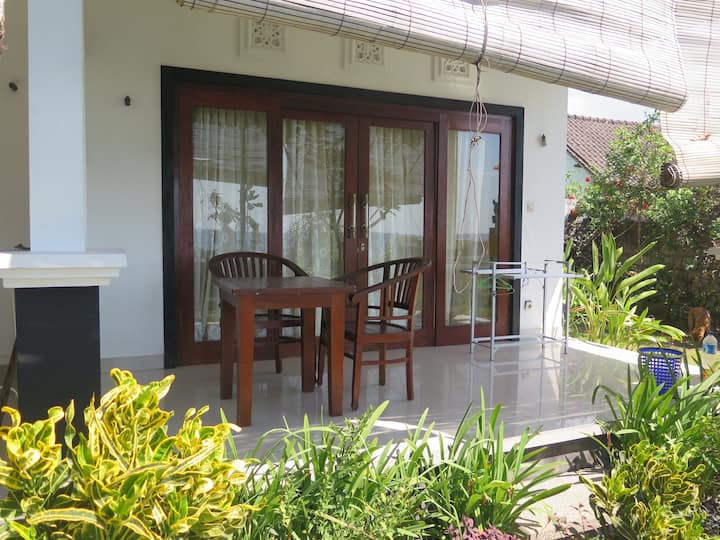 Ocean view from your bed! -Bungalow at Amed beach