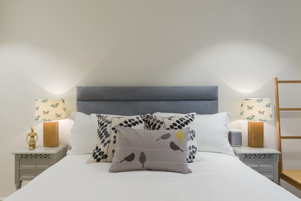 Fluffy pillows and Egyptian cotton bed linen