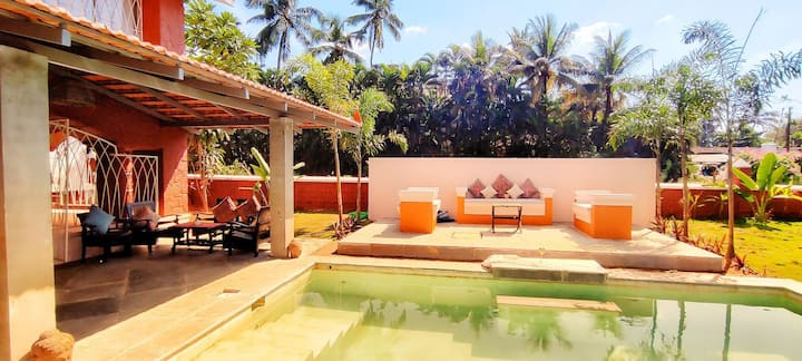 Baywatch 3BR villa with Pvt Pool nr Candolim Beach