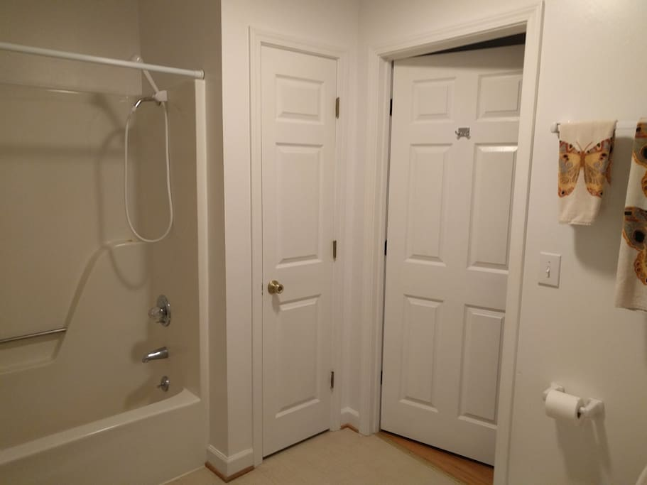 Direct access to restroom and shower which are shared with adjacent room.