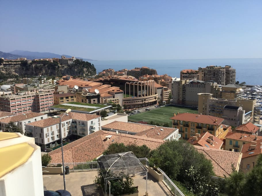 Palace and stadium of Monaco. View from our terrace