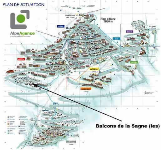 Vue sur les virages de la montée de l'Alpe d'huez