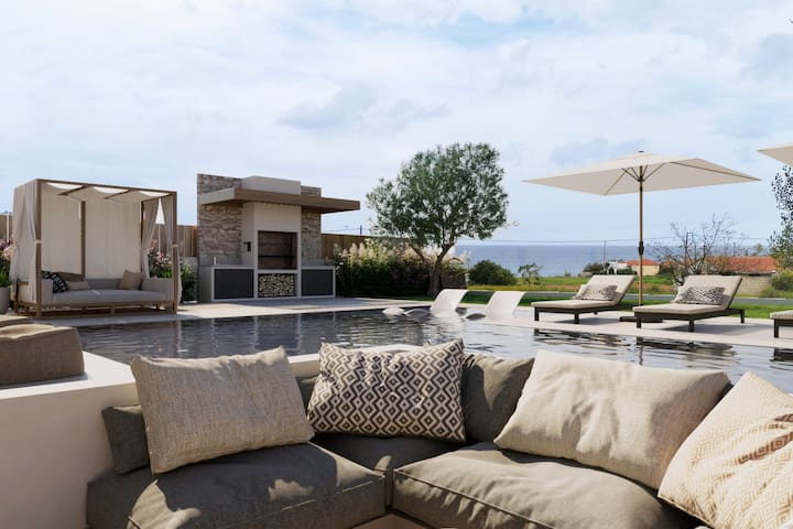 Villa with pool and sea view at 250 m from beach
