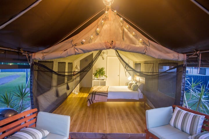 Safari Tent with bathroom and kitchenette at rear