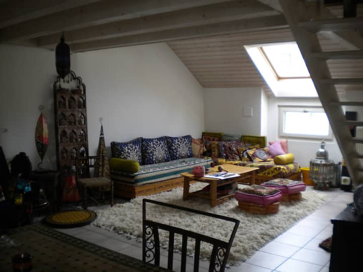 Bright mezzanine with single bed, Geneva Center!