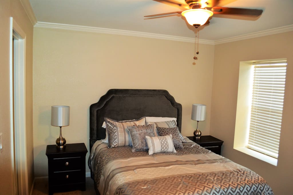 Master bedroom with memory foam queen bed