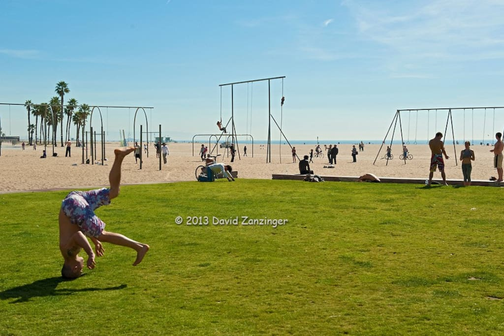 Stroll down to the famous yoga lawn, do the rope climbs, rings and swing bars, or just people-watch and bask in the sun & Pacific ocean breeze