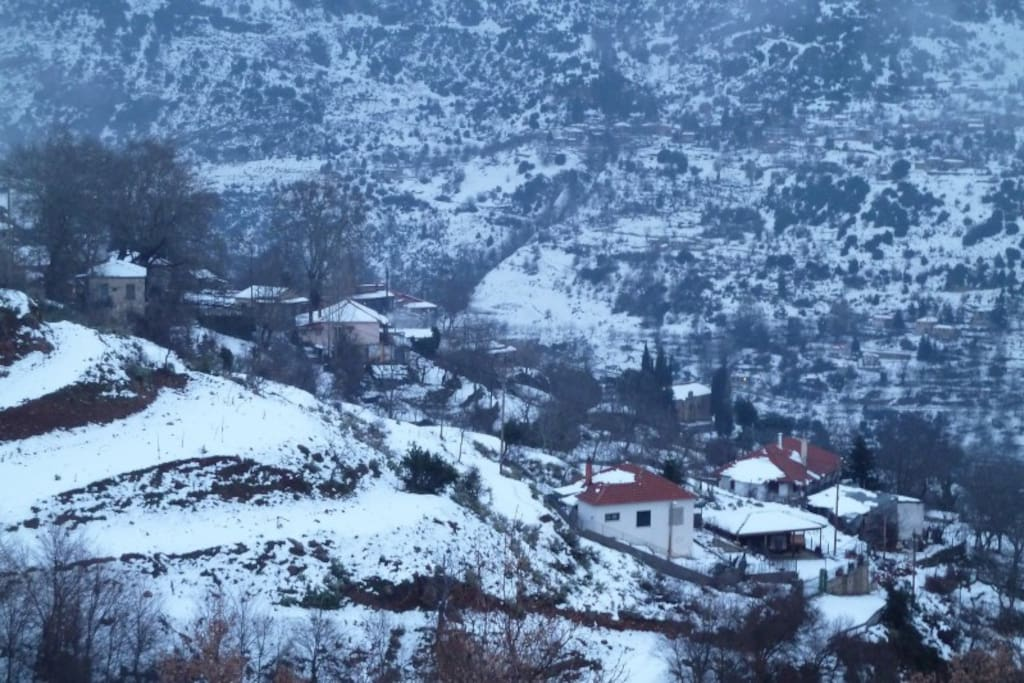 View of Peristera village in winter