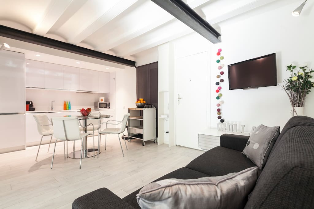 OPEN-PLAN KITCHEN AND LIVING ROOM AREA WITH TELEVISION, DVD/CD PLAYER