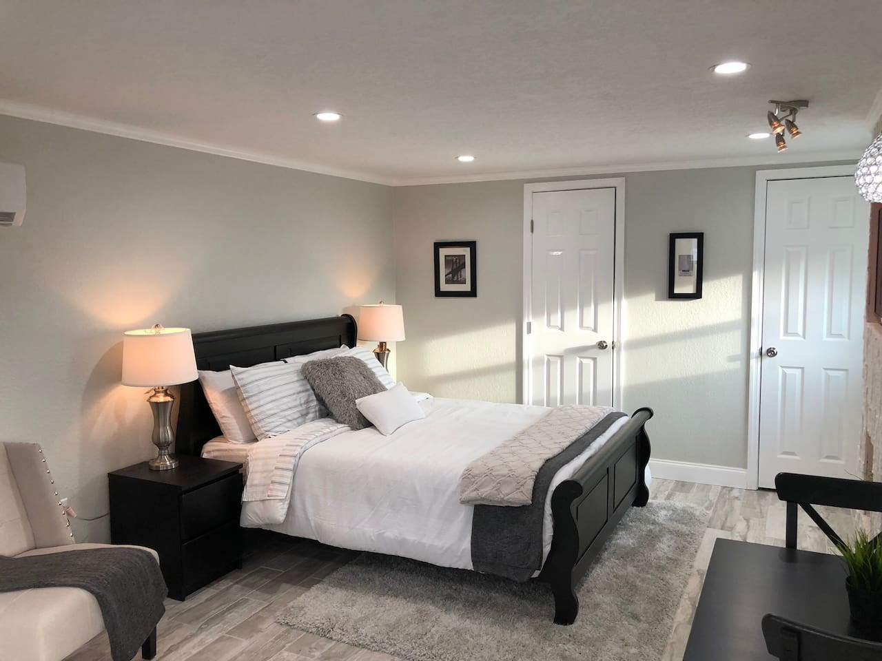 Enjoy a great night's sleep on a comfortable memory foam mattress in this cozy space.
