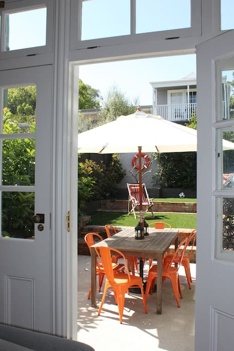 Outdoor dining and garden spaces