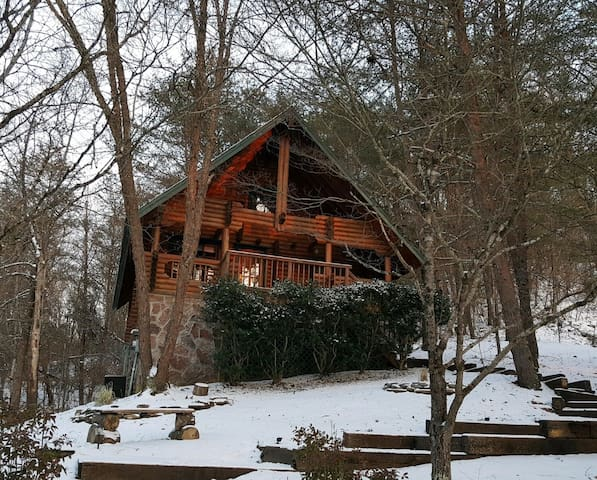 Great location! Short drive to Authentic Log cabin