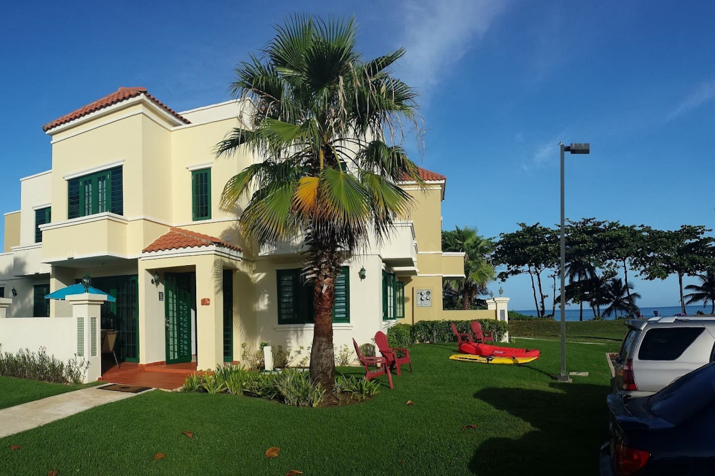 Beach front vacation Rental, Rincon, PR, 3BR, Steps from Beach.