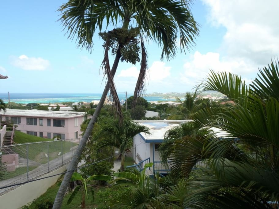 View from apartment patio, towards Christiansted town and Buck island