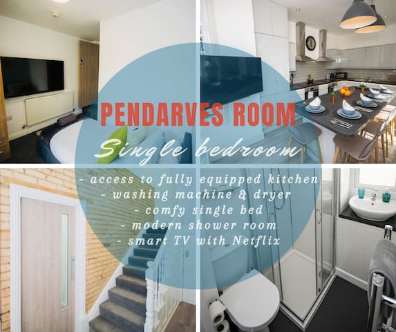 Wheal Wellington - Pendarves Room - gorgeous ensuite bedroom with access to a beautiful kitchen in a