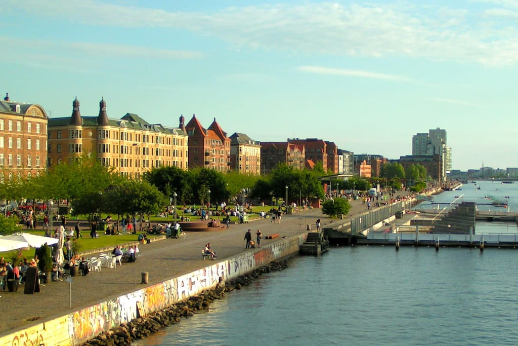 Islands Brygge waterfront, where it is possible to swim, even in the winter!