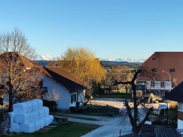 Bei Schönem Wetter kann das Alpenpanorama genossen werden
