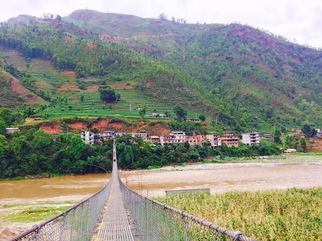 One of the many nearby suspension bridges