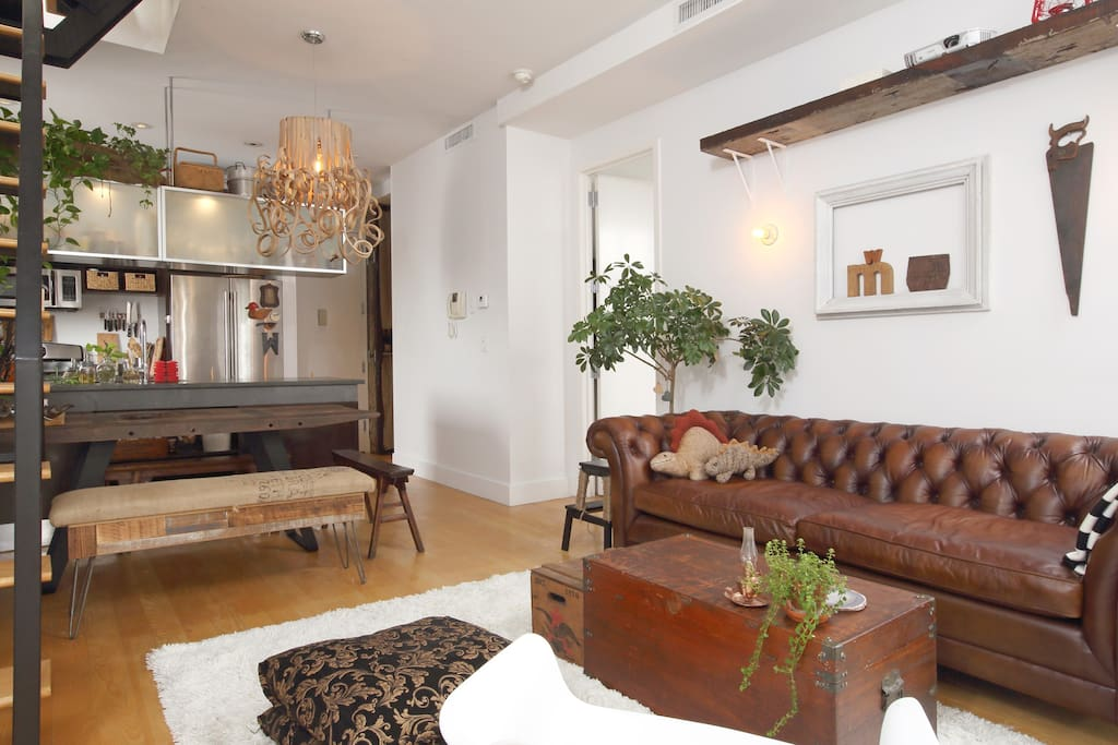 Living Room, Dining Room and Open Kitchen with Empire State Building View