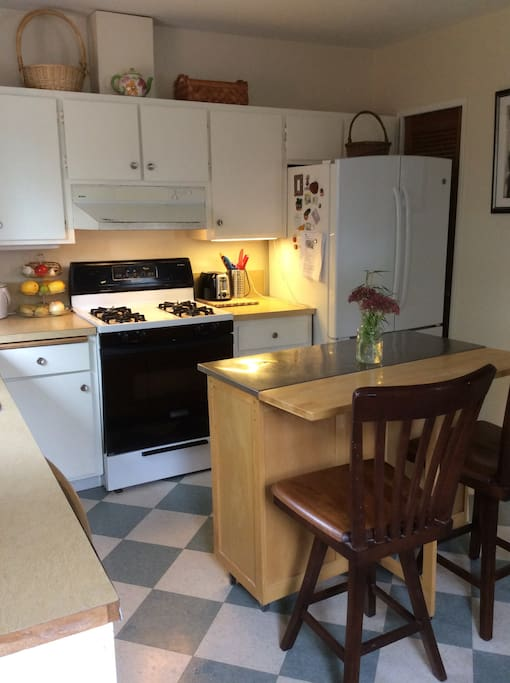 Gas stove, large refrigerator with automatic ice maker.  All the knick knacks to cook or not.