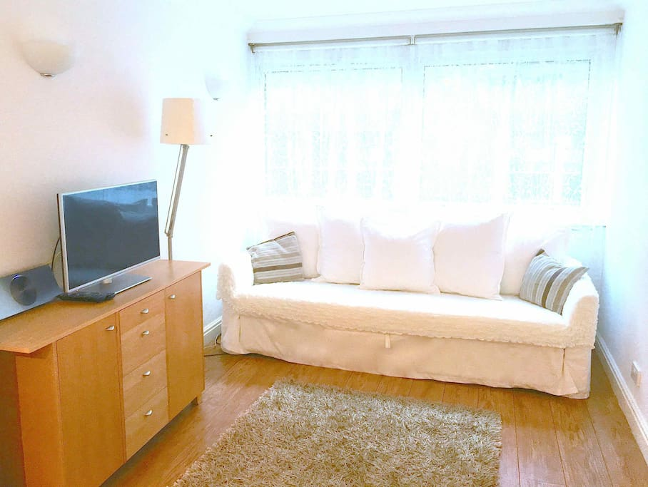 Good quality sofa/sofabed, TV, DVD, unlimited Netflix and wifi, blackout blinds at window