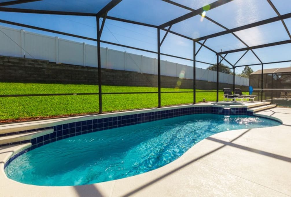Heated pool with Spa and night lighting, large sunbathing area fully screened for your comfort, Patio furniture and sun loungers. Pool heat is not included in nightly rate.  Please contact for rate.