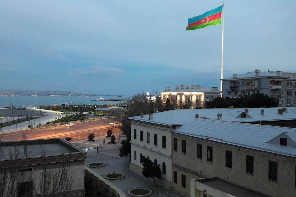 Amazing view to Baku Flag square and Baku Boulevard!