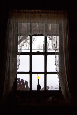 A quiet view from the cabin window in winter