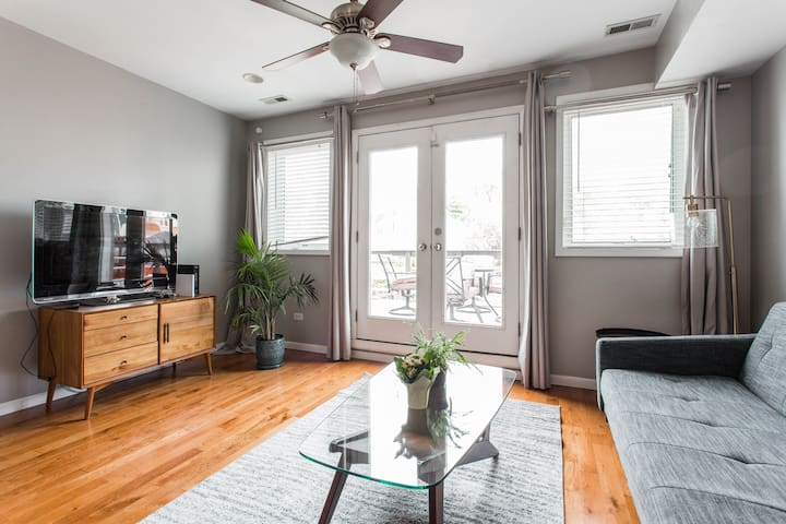 Enjoy kicking back on the sofa watching smart TV or hang out on the adjacent patio