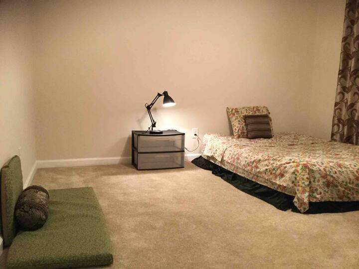 Cozy bedroom with queen air-mattress