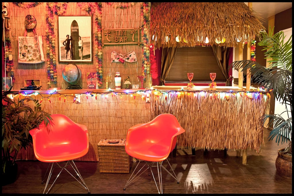 The Tiki Bar lights up at night and creates a great ambiance!