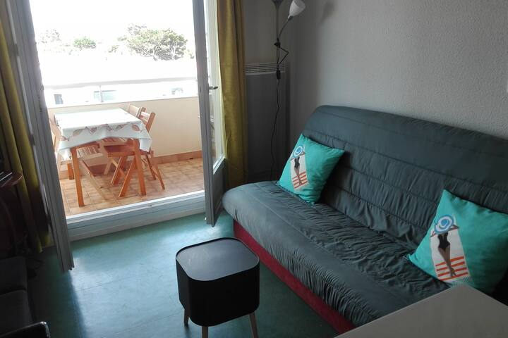 Petit appartement avec mezzanine, balcon, Parking.
