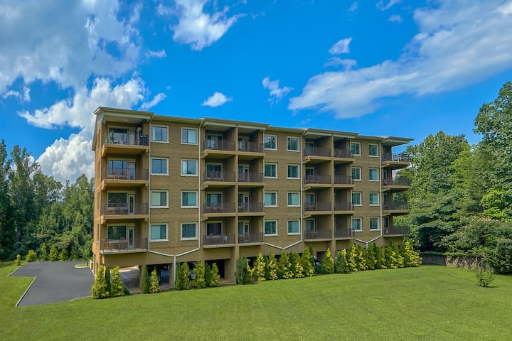 Luxury condo w/ forest & mountain views, a private balcony, & covered parking!