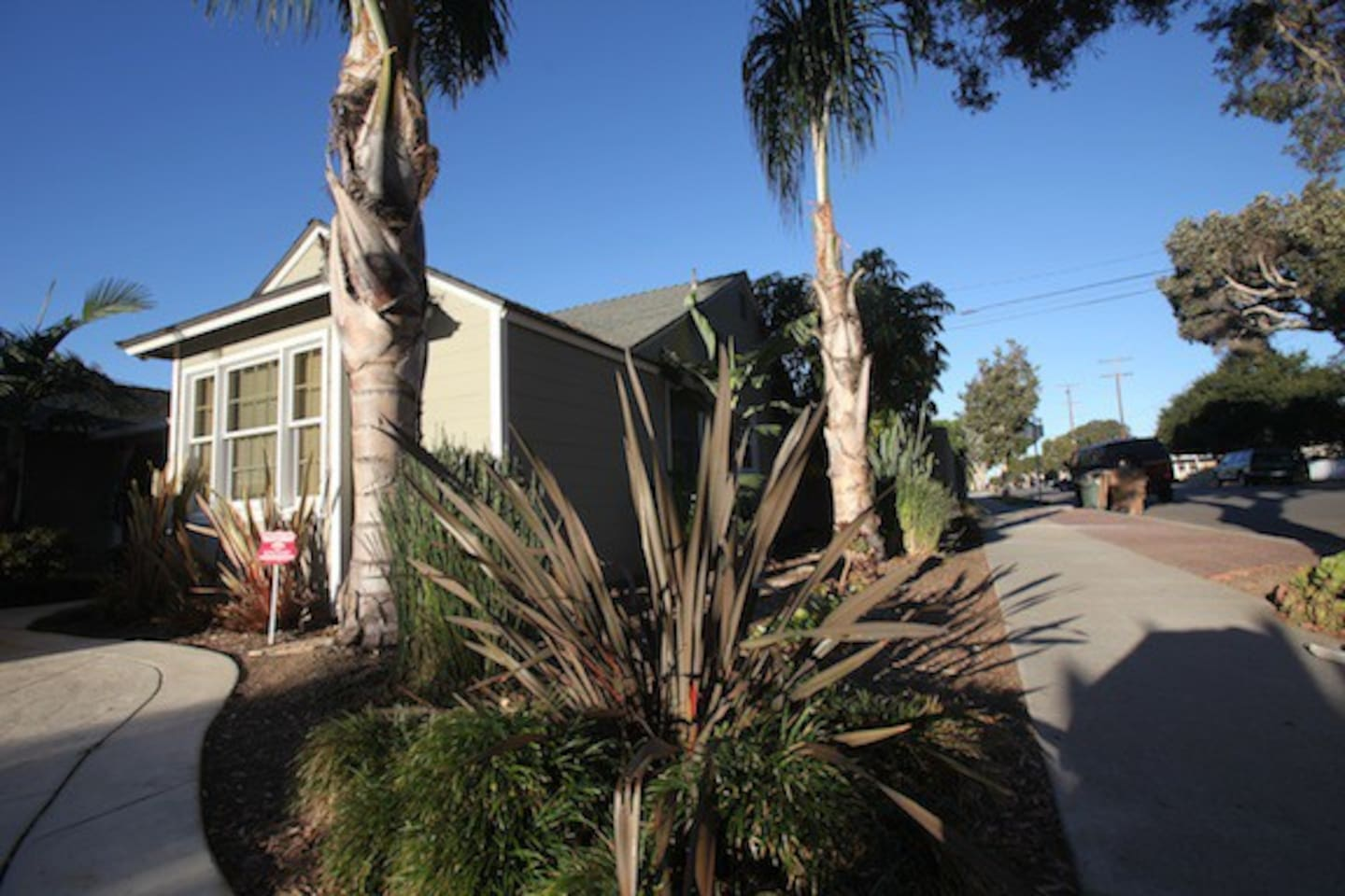 Front of remodeled 1950's Beach Bungalow Home.  Studio on back side of home.