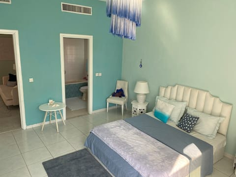 Master bedroom in a luxury villa near the beach