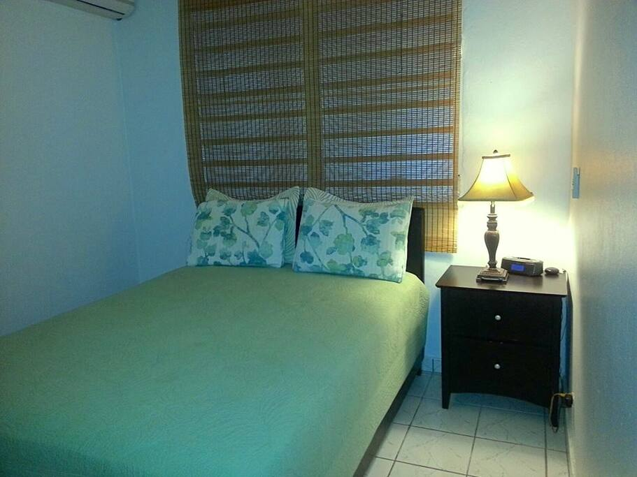 First bedroom: Queen size bed.