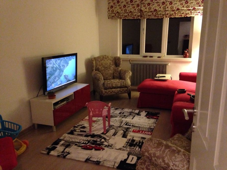 cable TV and nice living room