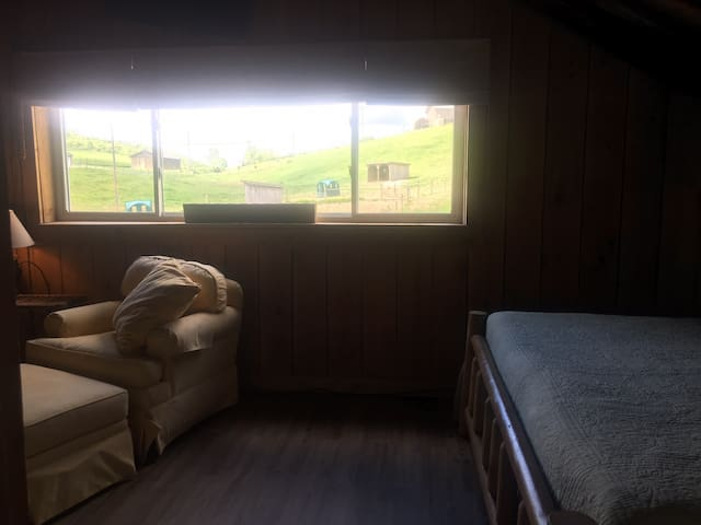 View from bathroom hallway into bedroom/living room area and seeing the view of the pastures out the window