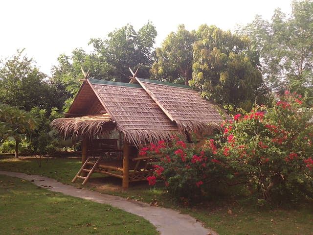 Bamboo house in the garden