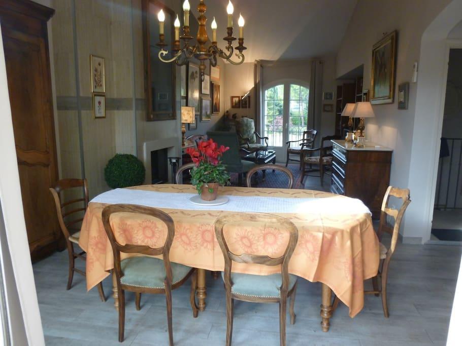 Vue de la terrasse, salle à manger, au milieu cheminée, au fond salon avec vue sur le site archéologique Romain La Villasse.