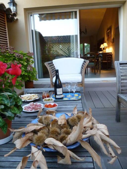 Un petit moment de détente aprés visites et dégustation des vins de la région ou autres, sur la terrasse au calme.