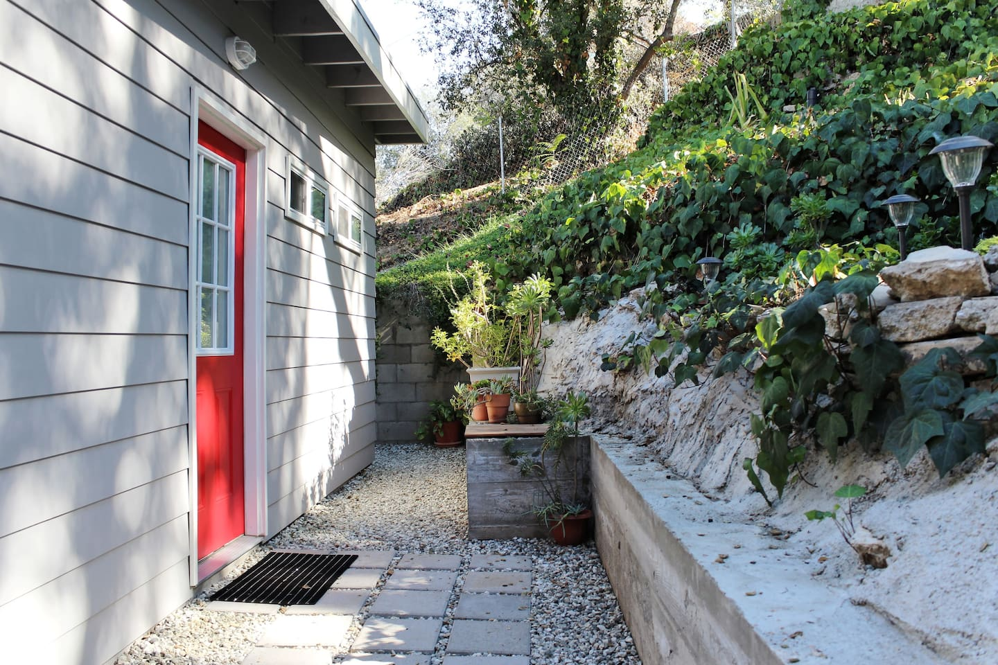 Front door to the Modern Red Cottage