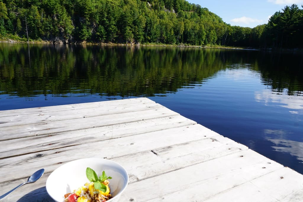 Accès direct au lac paisible!  Direct access to this peaceful and quiet lake!